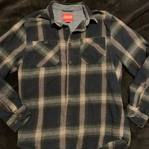 Coleman PLAID large flannel EUC